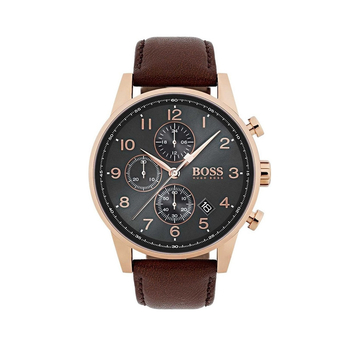 BOSS Navigator grey dial & brown strap