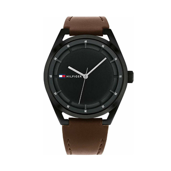 TOMMY HILFIGER Collin black dial & brown strap