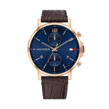 TOMMY HILFIGER Daniel blue dial & brown strap