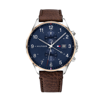TOMMY HILFIGER West blue dial & brown strap