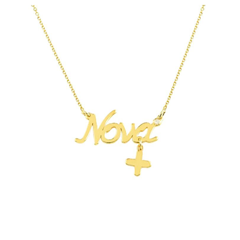 Κολιέ «Νονά» Κ14 χρυσό με διαμάντι
